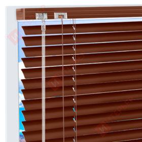 Горизонтальные алюминиевые жалюзи на пластиковые окна - цвет орехово-коричневый